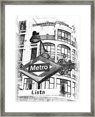 18 Lista Metro Madrid Framed Print by Alan Armstrong