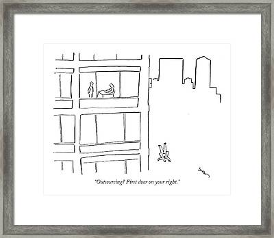Outsourcing? First Door On Your Right Framed Print by Michael Shaw