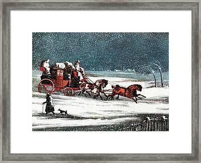 1800s 1830s Winter Snow Scene Framed Print