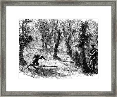 1800s 1860s Drawing Of Federal Sentry Framed Print