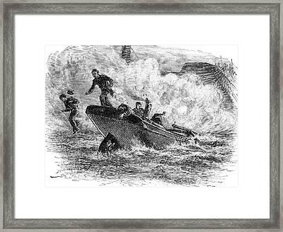 1800s 1860s Lieutenant Cushings Attack Framed Print