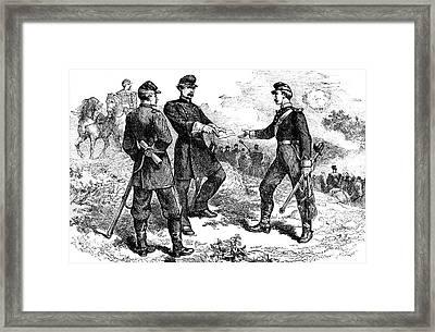1800s 1860s Mcclellan At The Battle Framed Print