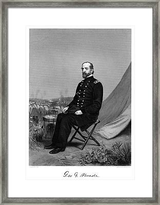 1800s 1860s Portrait Of George G Meade Framed Print