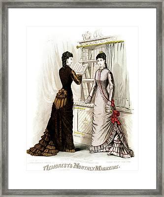 1800s 1870s Winter Dresses Fashion Framed Print