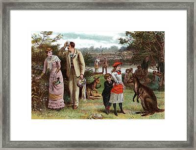 1800s 1880s 1881 Summer Picnic Scene Framed Print