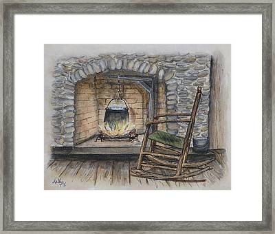 1800s Cozy Cooking .... Fire Place Framed Print