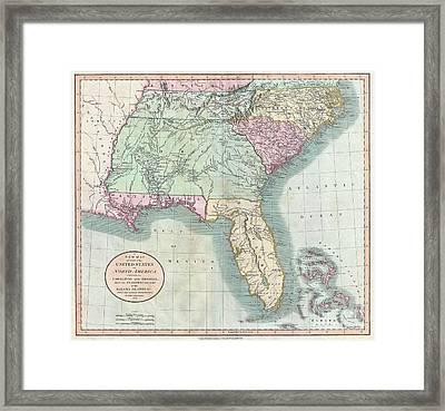 1806 Cary Map Of Florida Georgia North Carolina South Carolina And Tennessee Framed Print by Paul Fearn
