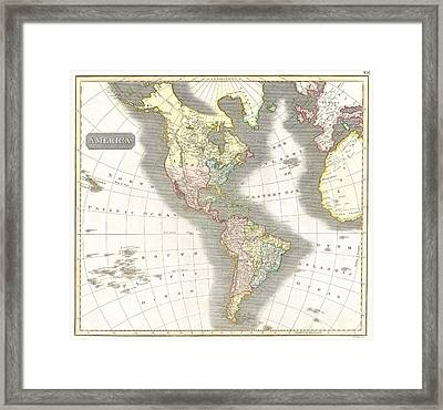 1814 Thomson Map Of North And South America Framed Print by Paul Fearn