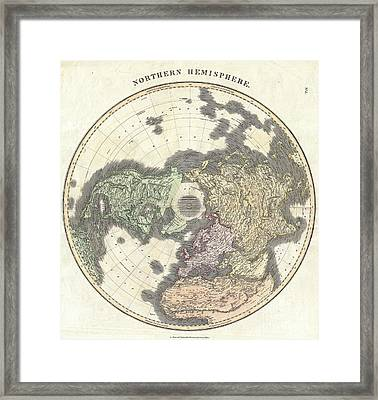 1814 Thomson Map Of The Northern Hemipshere And Arctic Framed Print by Paul Fearn
