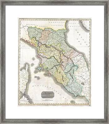 1814 Thomson Map Of Tuscany Framed Print