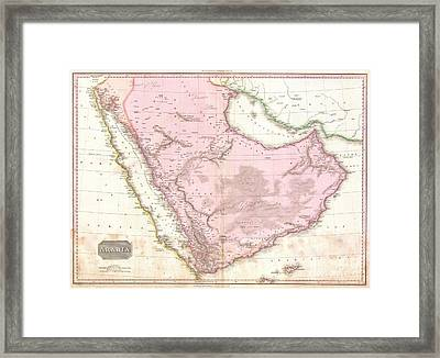 1818 Pinkerton Map Of Arabia And The Persian Gulf Framed Print