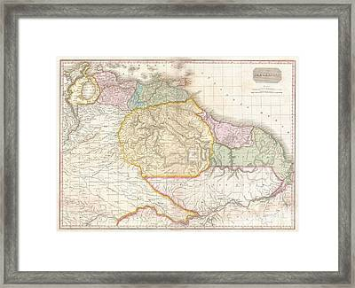 1818 Pinkerton Map Of Northeastern South America Framed Print