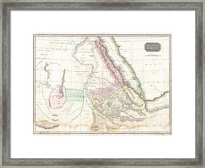 1818 Pinkerton Map Of Nubia Sudan And Abyssinia Framed Print