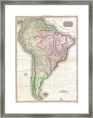 1818 Pinkerton Map Of South America Framed Print