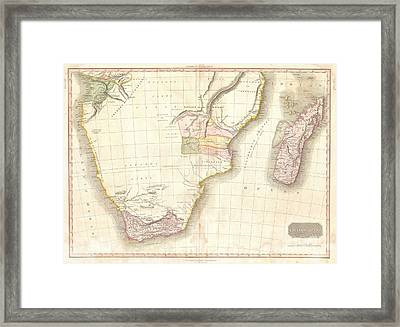 1818 Pinkerton Map Of Southern Africa Framed Print by Paul Fearn