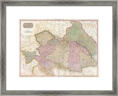1818 Pinkerton Map Of The Austrian Empire Framed Print