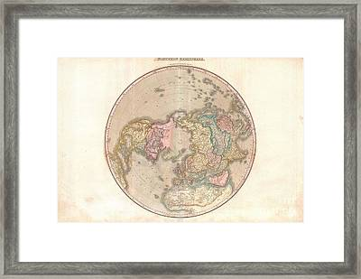 1818 Pinkerton Map Of The Northern Hemisphere  Framed Print