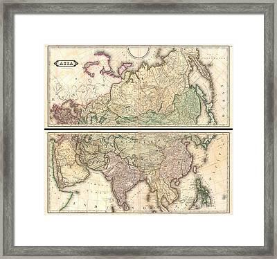 1820 Lizars Wall Map Of Asia Framed Print