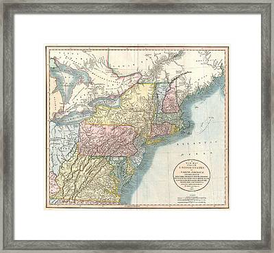 1821 Cary Map Of New England New York Pennsylvania And Virginia Framed Print by Paul Fearn