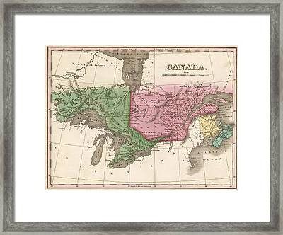 1824 Canada Vintage Map Print Framed Print by Helena Kay