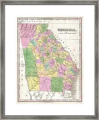 1827 Finley Map Of Georgia Framed Print