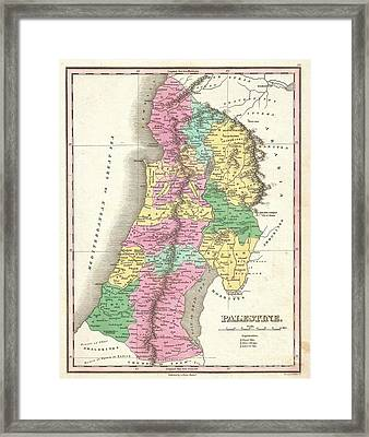 1827 Finley Map Of Israel  Palestine Holy Land Framed Print by Paul Fearn