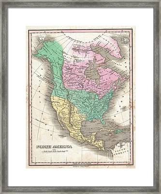 1827 Finley Map Of North America Framed Print by Paul Fearn