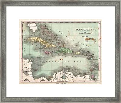 1827 Finley Map Of The West Indies Caribbean And Antilles Framed Print by Paul Fearn