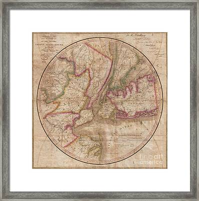 1828 Eddy Map Of New York City And 30 Miles Around Framed Print by Paul Fearn