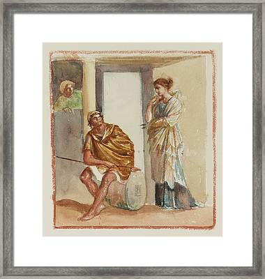 A Warrior Seated Outside A Greek Building Framed Print