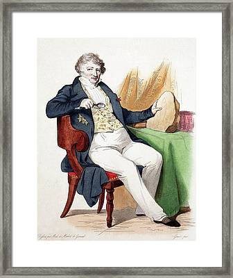 1830 Colour Portrait Baron Cuvier Fossil Framed Print by Paul D Stewart