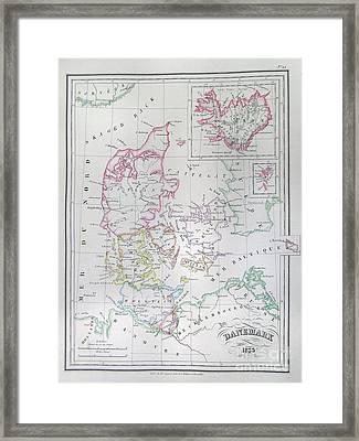 1833 Malte Brun Map Of Denmark  Iceland And Faeroe Islands  Framed Print