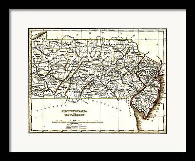 1835 Pennsylvania And New Jersey Map Framed Prints