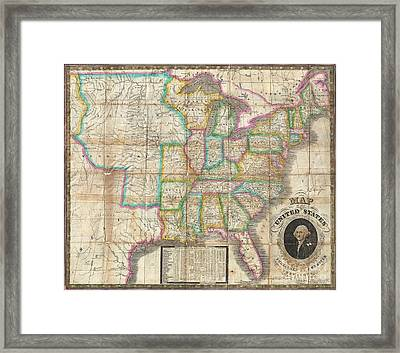 1835 Webster Map Of The United States Framed Print by Paul Fearn