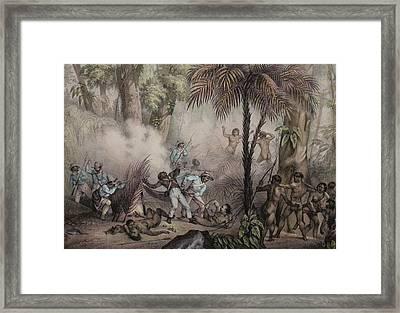 1836 Rugendas Brazil Indian Masacre Framed Print