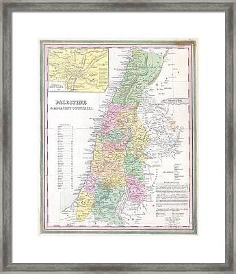 1836 Tanner Map Of Palestine  Israel  Holy Land Framed Print