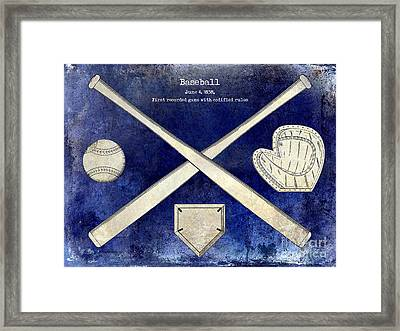 1838 Baseball Drawing 2 Tone Blue Framed Print by Jon Neidert
