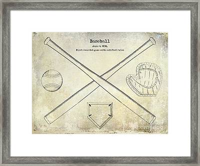 1838 Baseball Drawing  Framed Print by Jon Neidert