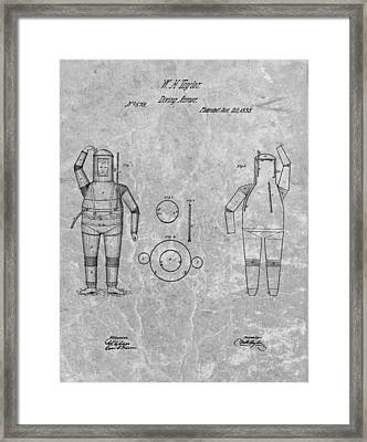 1838 Diving Armor Patent Charcoal Framed Print