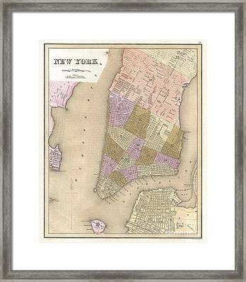 1839 Bradford Map Of New York City Framed Print by Paul Fearn