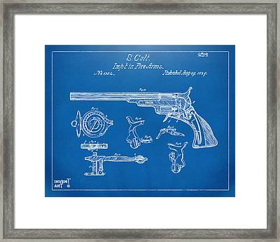 1839 Colt Fire Arm Patent Artwork Blueprint Framed Print