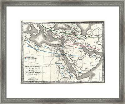 1839 Monin Map Of The Hebrew Peoples Dispersal After The Flood Framed Print by Paul Fearn