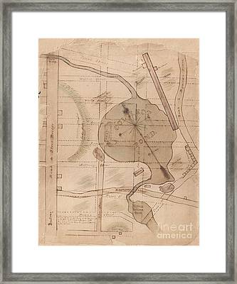 1840 Manuscript Map Of The Collect Pond And Five Points New York City Framed Print
