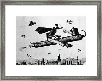 1840s 1800s Illustration Cartoon Of Man Framed Print