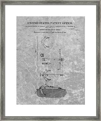 1842 Anchor Patent Charcoal Framed Print