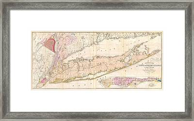 1842 Mather Map Of Long Island New York Framed Print by Paul Fearn