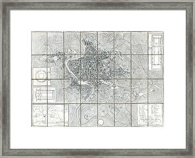 1843 Monaldini Case Map Of Rome Framed Print by Paul Fearn