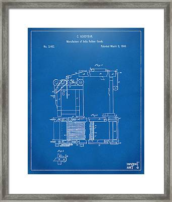1844 Charles Goodyear India Rubber Goods Patent Blueprint Framed Print by Nikki Marie Smith