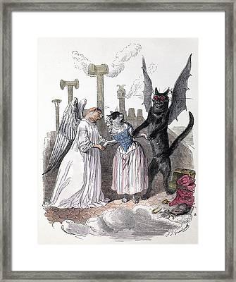 1845 Anthropomorphic Devil Angel Cats Framed Print by Paul D Stewart
