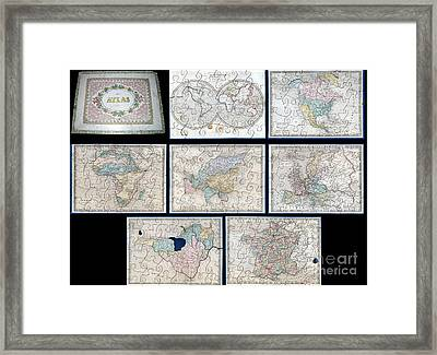 1845 Logerot Jigsaw Puzzle Atlas Of The World  Framed Print by Paul Fearn